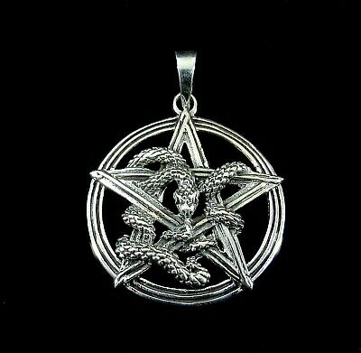 925 Sterling Silver Uroborus Intertwined Snake Pentacle Pentagram Pendant