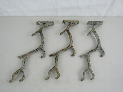 "Lot of 3 Cast Iron Rustic Tree Branch Wall Hook/Rack-12"" Lengtth"