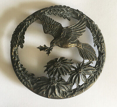 1993 Rawcliffe Pewter Collectible Potpourri  Jar Lid PC2987 • Bird Flower Holly