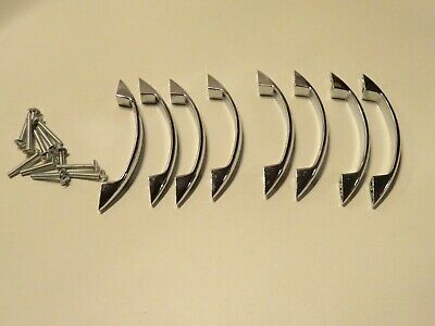 Lot Of 8 ART DECO TO MID CENTURY CHROME DRAWER PULLS WITH SCREWS NOS