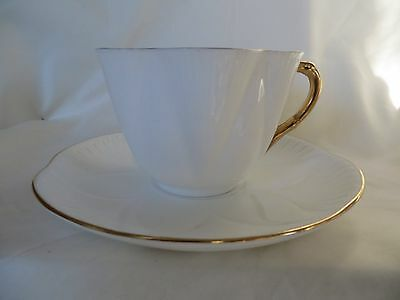 Shelley Bone China England Dainty White Tea Cup & Saucer w/ Gold Trim
