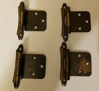 4 Vintage Metal Spring Loaded Cabinet Hinges Wood Working Crafts Unique
