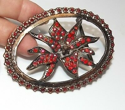 Gorgeous Huge Copper Red Aurora Borealis Rhinestones Belt Buckle Lily Flower