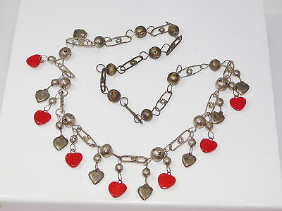 """Handcrafted Valentine Heart charm Red Silver Extra Long 30"""" Necklace 1d 62"""