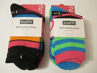 5773a26540a 2 Packs TRUFIT Soft Cushion Blue Black Strip Crew Casual Socks~Size 9-11