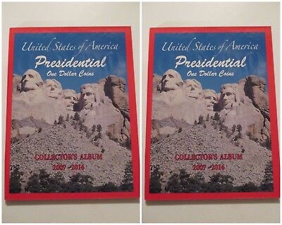 NEW 2 US PRESIDENTIAL Dollar Coin Collector Holder Albums~2007-2016