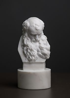 MARBLE bust head of an old man by Augustin Pajou carved statue artist sculpture