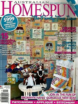 Australian Homespun Magazine No 104.  Vol 13, 1.  2012. Pattern Sheets Attached