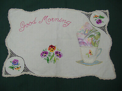 "Vintage retro embroidered doiley with crochet edging - ""Good morning"" tea cup."