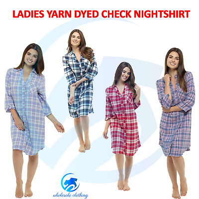 Ladies Boyfriend Yarn Dyed Long Check Nightshirt Womens Button UP Cotton Nightie