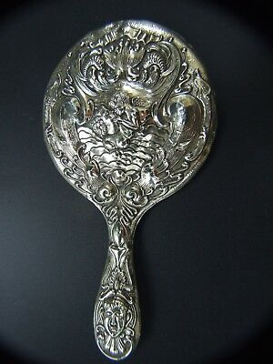 "Gorgeous Antique Art Nouveau Silver ""Loves Dream"" Repousse Hand Mirror 1900's"