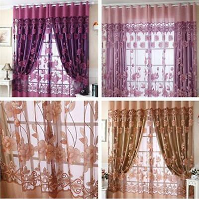 100*250cm Peony Pattern Voile Window Curtain Tulle Sheer Curtains For Home Decor