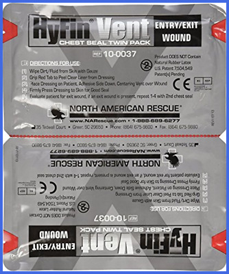 North American Rescue Hyfin Vent Chest Seal 2 Ct FREE SHIPPING.