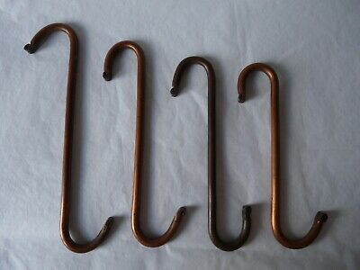 Antique Hand Forged Wrought Copper S Hook Graduated Set Farmhouse Aga Copper Pan