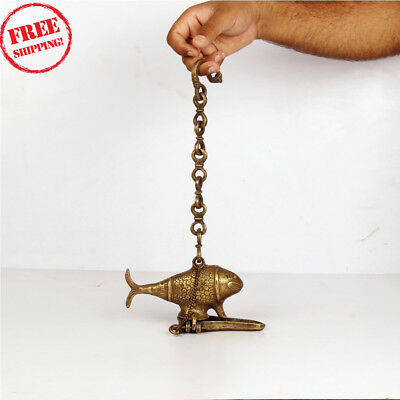 Lamp Old Brass Handcrafted Fish Shape Crafted Hanging Oil Lamp, Rich Patina 421