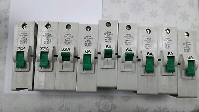 30A Type 3 M.5 BS3871 6A 20A 10A Federal Electric Stablock S.P MCB 60A 15A