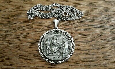 Vintage DECLARATION OF INDEPENDENCE NECKLACE PENDANT, COIN PEWTER