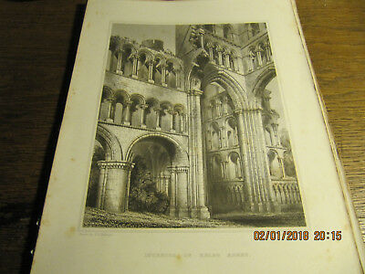 Planche Interior of Kelso Abbey  BILLINGS 19e