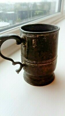 Watts and Harton London Pewter Half Pint Tankard 19th C, free pewter tankard