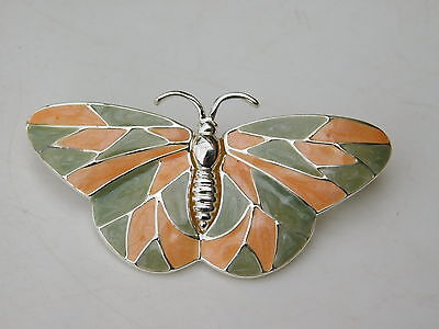 Vintage Butterfly Moth Insect Enamel Orange Olive Green Silver Brooch Pin 5h 12