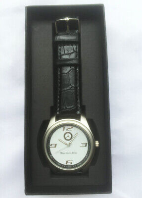 New Mercedes Benz Mens Watch Stainless Steel Black Strap White Face-Black Boxed