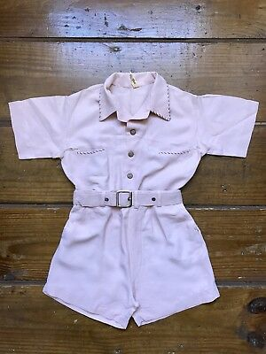 Vintage 1950's San Tone Childrens Belted Shorts & Shirt Set Outfit Needs Repair