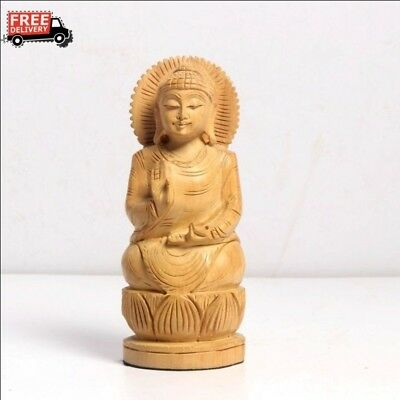 New Antique Look Handcrafted  Wooden Buddha Good Luck Statue Home Decor 3991