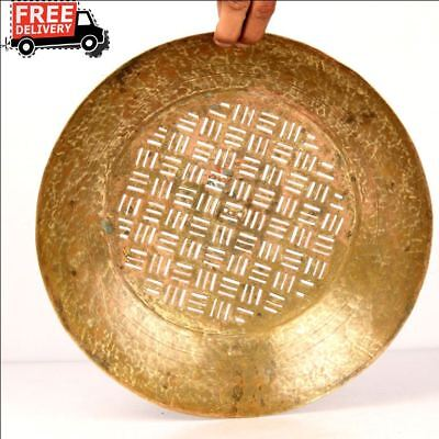 Vintage Brass Water Drainer Plate Middle East Tray Plate Kitchenware 7493