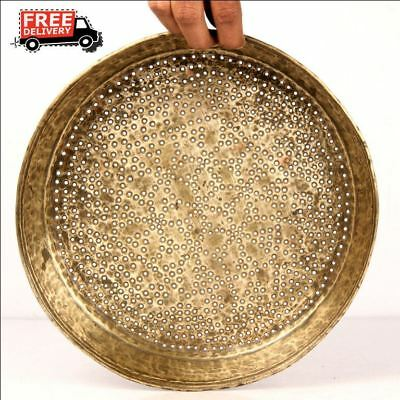 Vintage Brass Water Drainer Plate Middle East Tray Plate Kitchenware 7485