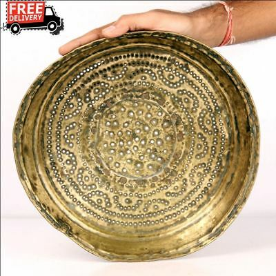 Vintage Brass Water Drainer Plate Middle East Tray Plate Kitchenware 7481