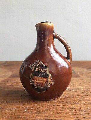 Old Vintage French Soldier Cherry Brandy Miniature Ceramic Flask Empty w Cork