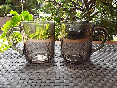 "2 x Vintage Retro Arcoroc ""Fume""  Smokey Glass Tea Coffee Mugs France 250 mls"
