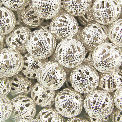 200Pcs Silver Plated Metal Filigree Round Ball Spacer Beads & Choose 4/6/8/10mm