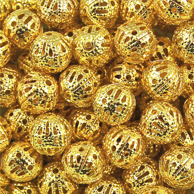 200Pcs Gold Plated Metal Filigree Round Ball Spacer Beads & Choose 4/6/8/10/12mm
