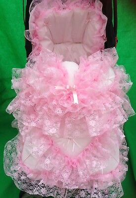 Pram Pushchair Frilly Pink Bling Cosytoes Footmuff - Romany