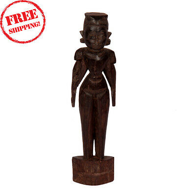 Tribal Putli Figure Antique Wooden Hand Craft Rare South Sculpture  Statue 119