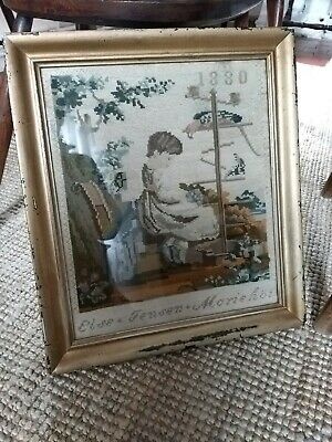 Antique 19th Century Textile Sampler Dated Needlework Woolwork Sewing