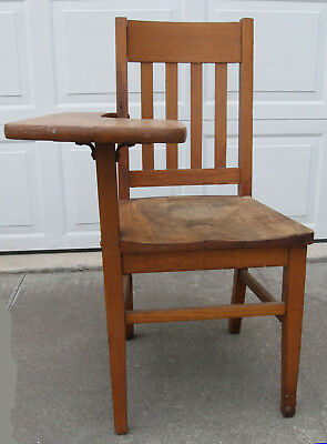 Vintage Oak School Desk Writing Chair Heywood Wakefield Mission? Mid Century?