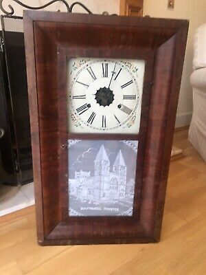 Antique 19th Century E.N Welch Ogee Weight Driven Mahogany Wall Clock U.S.A Time