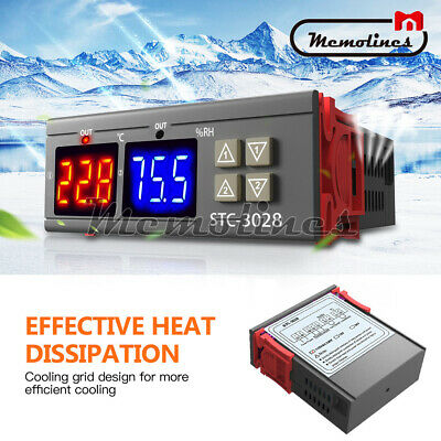 AC110-220V 10A STC-3028 Dual LED Temperature&Humidity Control Thermostat Probe
