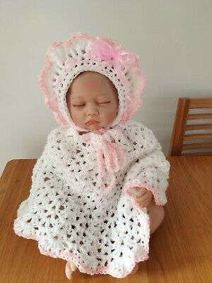 Hand Crochet 0-3 Months Baby Girls Poncho And Bonnet Hat Set With Bow