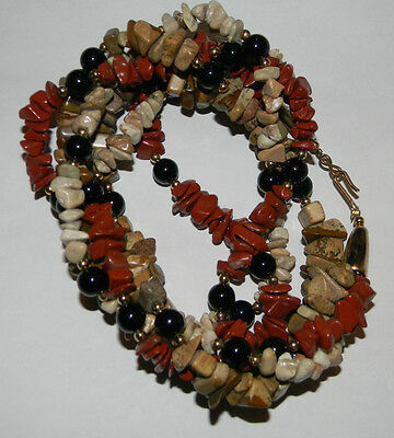Chunky Vintage Red Jasper Pebbles Stones Silver Tone Necklace in 3 Tiers