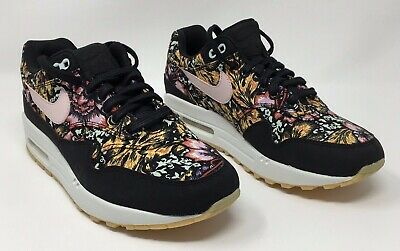 sports shoes adbdb 7bfc2 Nike Womens Running Shoes Air Max 1 QS Floral 633737-003 Black Red White  Size