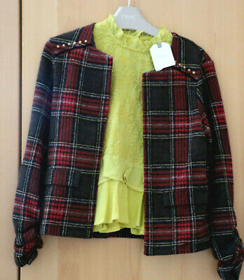 Next Girls Check Jacket & Mustard Blouse Top Age 7 Years BNWT