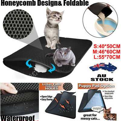 AUS Cat Litter Trapping Mat Double Layer Honeycomb Design Foldable Tray Trap Pad