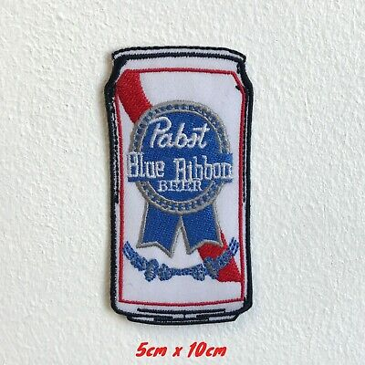 Pabst Blue Ribbon Beer Can Iron Sew on Embroidered Patch applique #1552