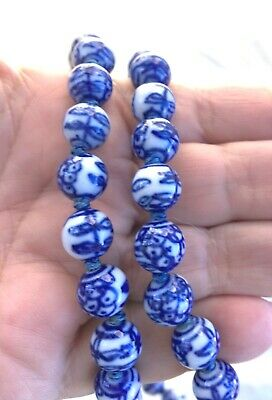"""Vtg Hand Painted & Knotted Silk Ceramic Bead Longevity Necklace - Chinese - 28"""""""
