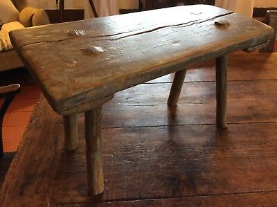 Lovely 19th Century Folk Art Stool In Old Paint Milking Stool Cottage Stool