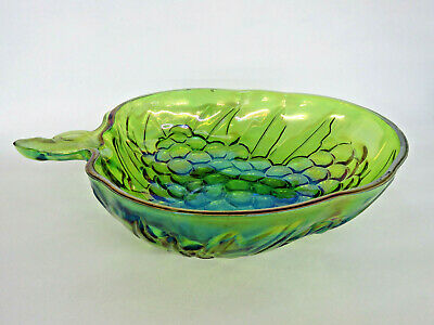 Indiana Carnival Glass Iridescent Green Grape Serving Salad Fruit Bowl 734B