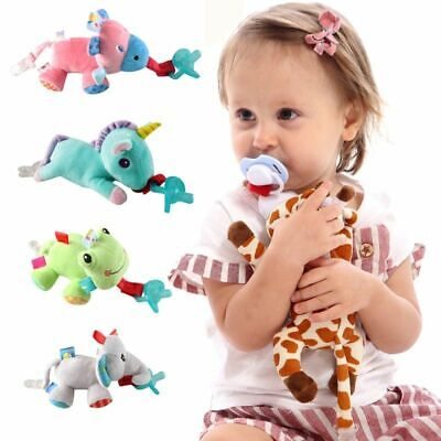 Baby Boys Girls Soother Holder Cute Plush Animal Toy Pacifier Chain Clip Newborn